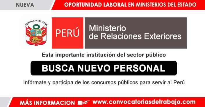 Convocatorias Rree 2018 Trabajos Empleos Ministerio De Relaciones Exteriores Peru