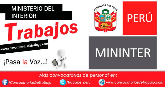 Convocatorias mininter 2017 trabajos empleos ministerio for Ministerio del interior peru
