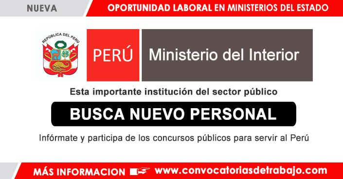 Convocatorias mininter 2018 trabajos empleos ministerio for Ministerio del interior peru