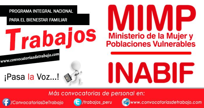 TRABAJOS INABIF 2016: Convocatorias vigentes de personal, empleos View ...